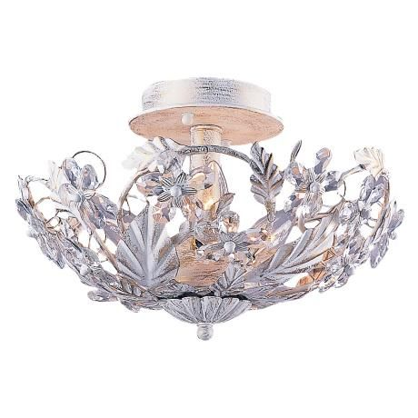 Crystal Flowers 12 Quot Wide Antique White Ceiling Light