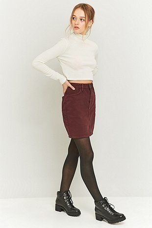 BDG Burgundy Denim Pencil Skirt | Moda | Pinterest | Bordeaux ...