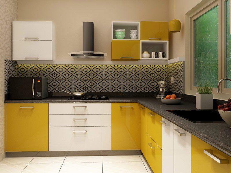 Yellow Acrylic L-shaped-Modular Kitchen ktc-38_16psqf | L ...