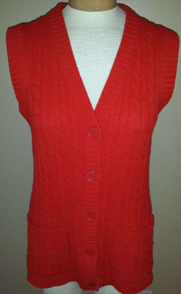 Vintage Hudson's Sweater Vest Red Button Down Front Pockets Womens ...