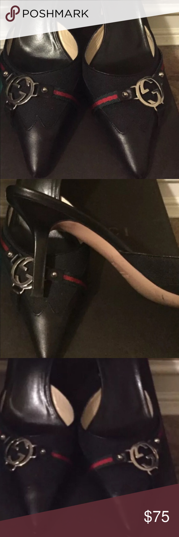 Gucci mules Black fabric on leather authentic Gucci mules with the traditional red and green logo colors and silver Gucci emblem. Comes with box Gucci Shoes Heels