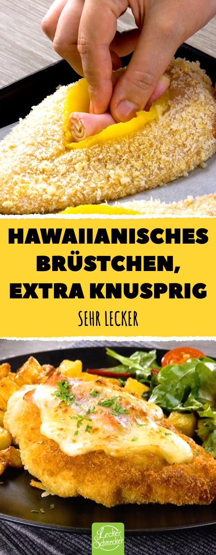 Hawaiianisches Brüstchen, extra knusprig. Sehr lecker! #lecker #rezepte #hähnchen #hähnchenbrust #hawaii #ananas #vejetaryentarifleri