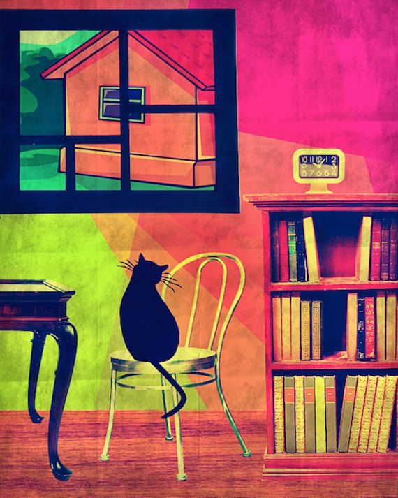 black cat mod neon art hot pink lime green graphic by Eahkee, $20.00