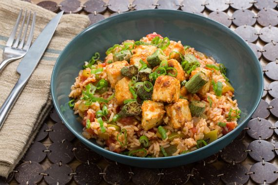 Cajun Tofu & Dirty Rice with Crispy Okra & Bell Pepper. Visit https://www.blueapron.com/ to receive the ingredients.
