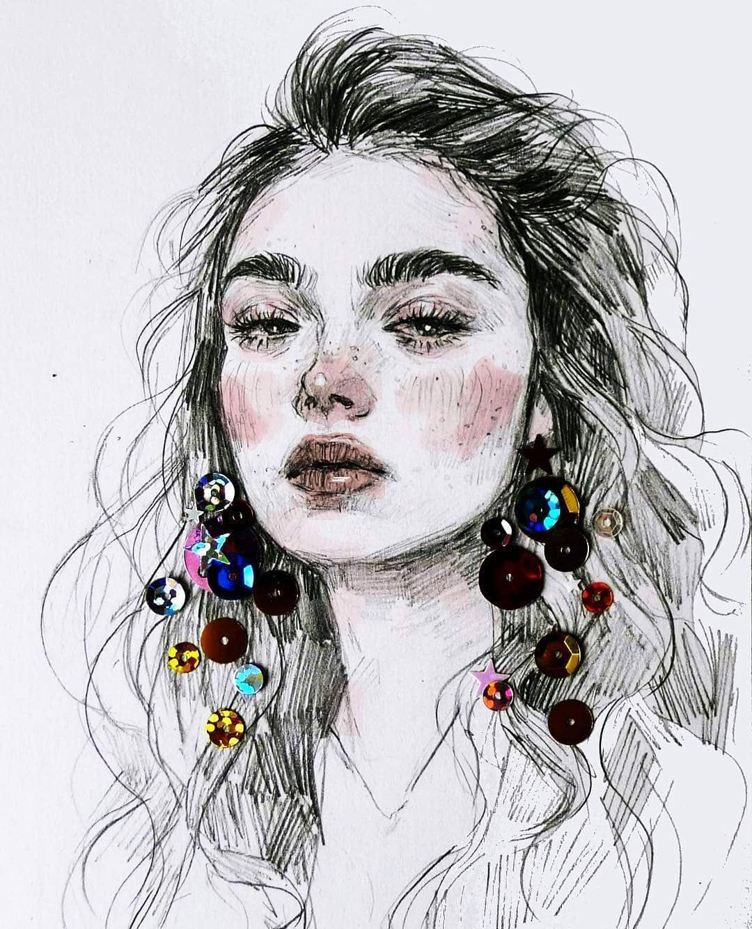 Easing back into doing more quick sketches dailydrawing dailysketch drawing pencilportrait portrait illustration mixedmedia sequins freckles