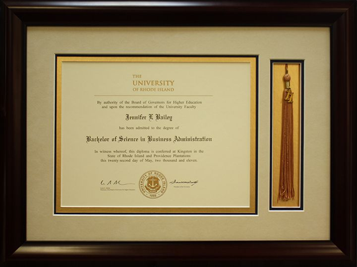The University Of Rhode Island College Diploma Custom Framed With Tassel Design By Art And Frame Express In Edison NJ