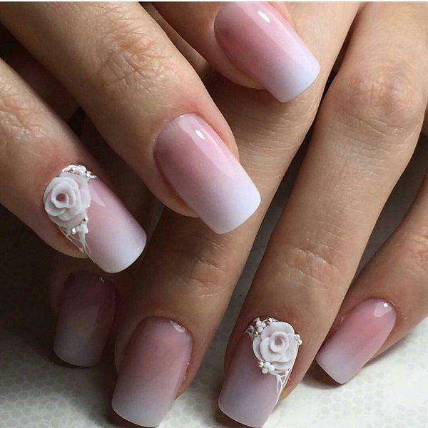 60 White Nail Art Designs | White nail art, Gradient nails and White ...