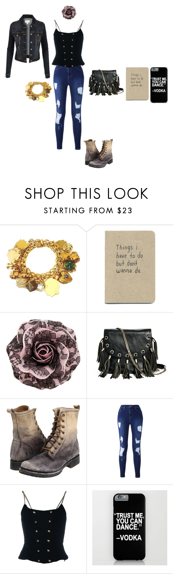 """""""Vintage girl"""" by cheshire-wolf ❤ liked on Polyvore featuring GUESS by Marciano, Frye, Chanel, LE3NO and vintage"""