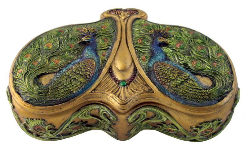 Vintage Art Nouveau-styled Viennese double-peacock box.