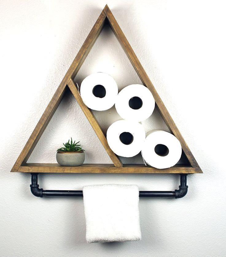 Photo of Bathroom Triangle Shelf with Industrial Towel Bar