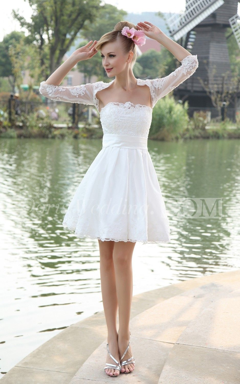 Cute Strapless A Line Short Dress With Bolero Short Wedding Dress Vintage Short Wedding Dress Short Bridal Dress [ 1500 x 938 Pixel ]