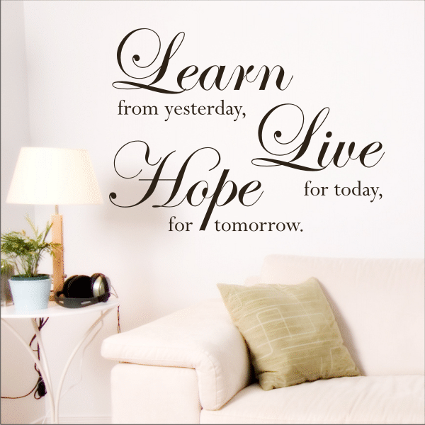 Learn live hope wall quote sticker design by my wall stickers youll be surprised at the amount of flair a wall sticker can add to a room buy online