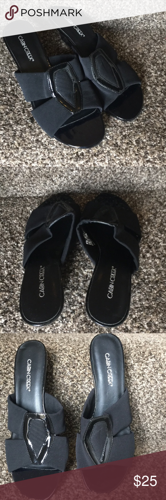 ca63a4bf368e NWOT Cabin Creek black sandals flats slip on 7 New without tags never worn  black cabin Creek sandals slip on size 7 Cabin creek Shoes Sandals