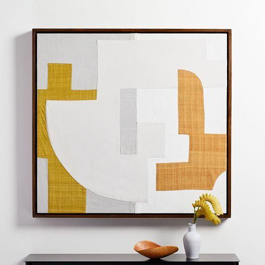 Pieced Fabric Wall Art Yellow Fabric Wall Art Tapestry Wall Art Fabric Wall