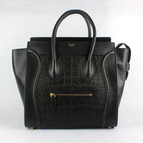 730364087dde Enjoy the fashion feeling with Celine Boston Bag Mini Totes Crocodile Black