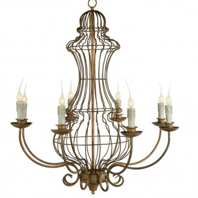 Kathy kuo home genie urn french country iron frame 8 light antique gold leaf chandelier designed from our most popular garden wire shape