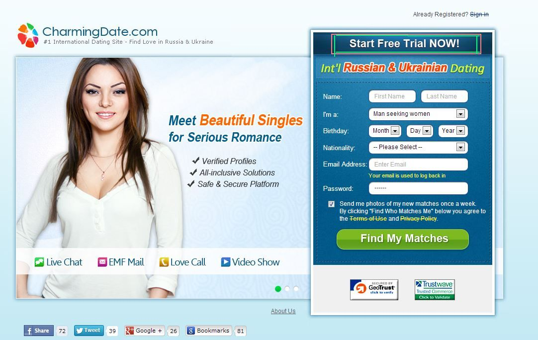 Dating site with instant chat