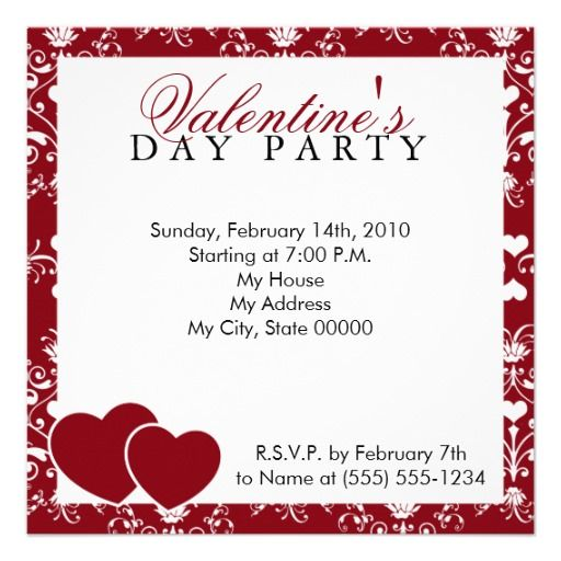 Red Damask Valentines Day Invitation  For Your Valentine