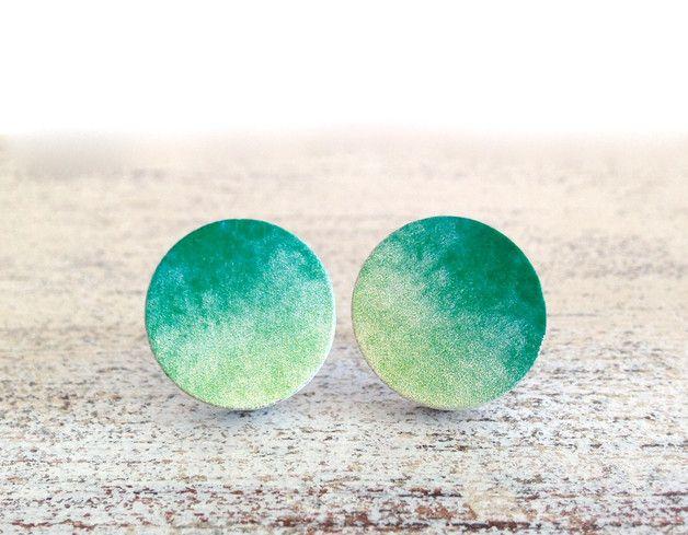 Pendientes de botón - ☾ ● Mystical Moon ● ☽ Farbverlauf Ohrstecker - hecho a mano por MiMaMeise en DaWanda #DaWanda #Bisutería #Joyería #anillos #Collares #Pulseras #Broches #Jewelry #DIY #Diseño #Hechoamano