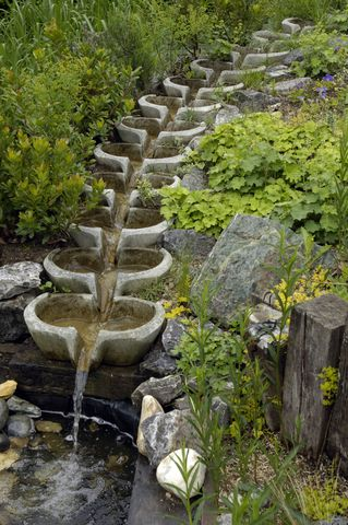 Creative calm unique these cascading water bowls make a for Japanese garden water fountain