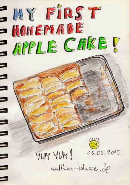 """Everyday in May 2015 #25 - Apple Cake ---- Today I had a premiere! Unbelievable how exciting it is to bake such a simple """"sheet apple cake"""" for the very first time and how difficult it is to draw such a cake looking good enough to eat ... ;-) #Food #AppleCake #Sketch #Watercolor"""