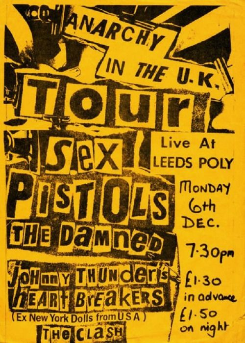 Sex Pistols, The Damned, Heartbreakers, The Clash at Leeds Polytechnic. 1976