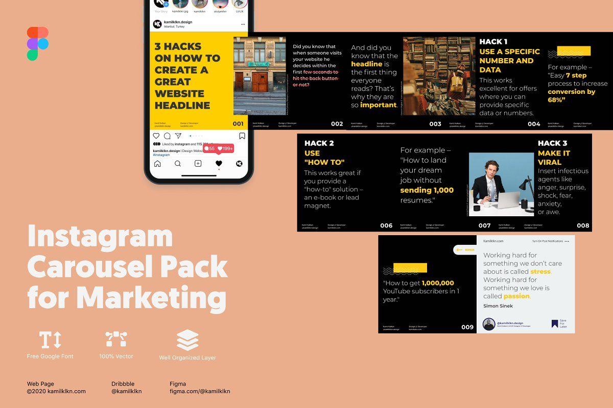 Instagram Carousel Pack for Marketin Sponsored , story