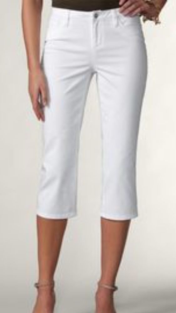 7576af37ff Coldwater Creek Sunwashed Jean Crop Women s White Stretch Size 10 NWT   ColdwaterCreek  CapriCropped