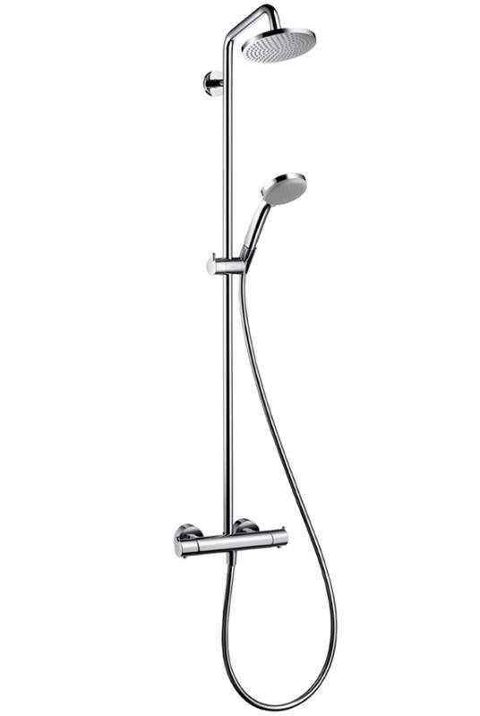 "Buy the Hansgrohe 27169001 Chrome Direct. Shop for the Hansgrohe 27169001 Chrome Croma Green Showerpipe Shower System with 1.75pgm Multi-Function Hand Shower, 63"" Hose and Shower Head - Eco Right 2.0 gpm  and save."