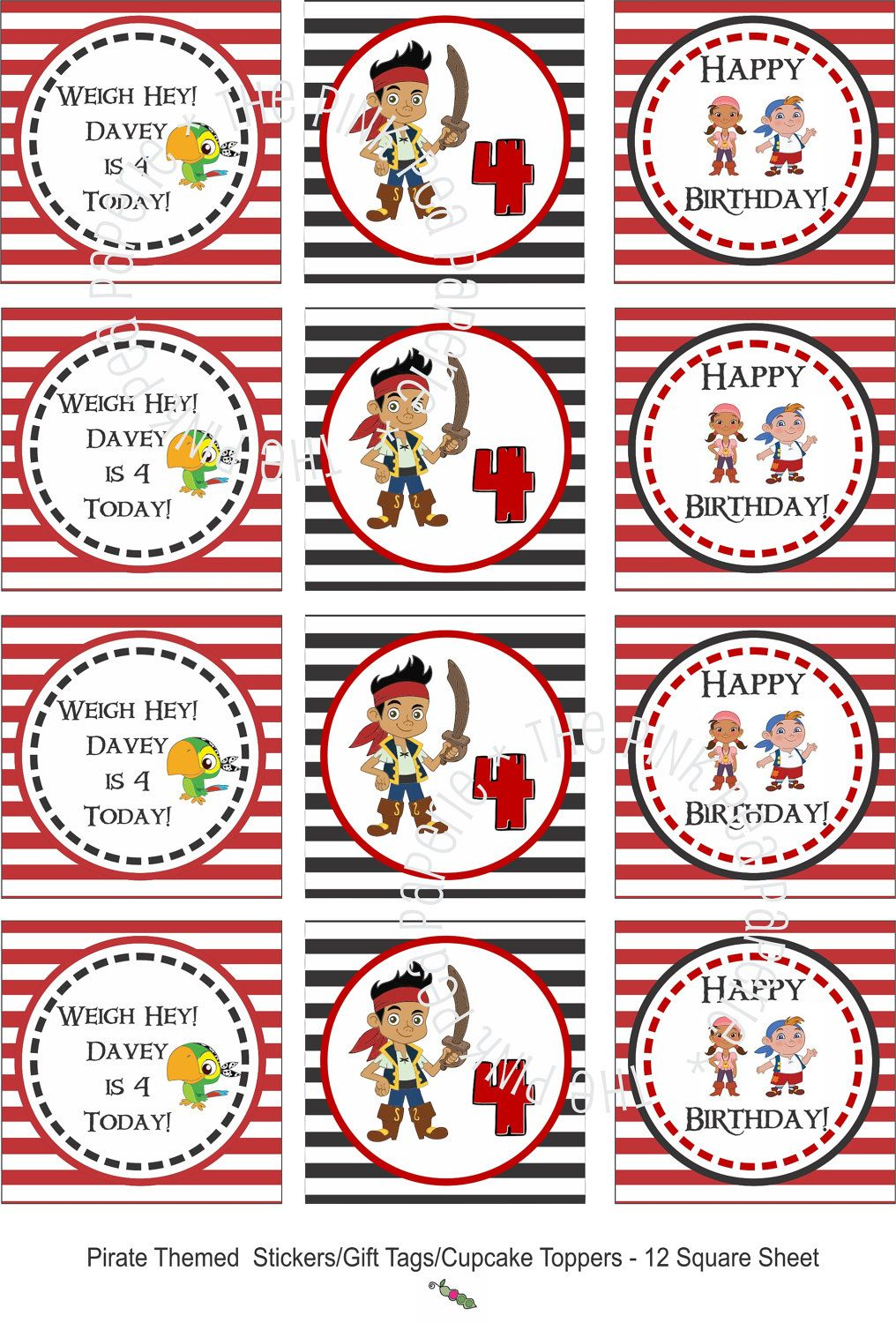 custom printable jake and the neverland pirates stickers or gift