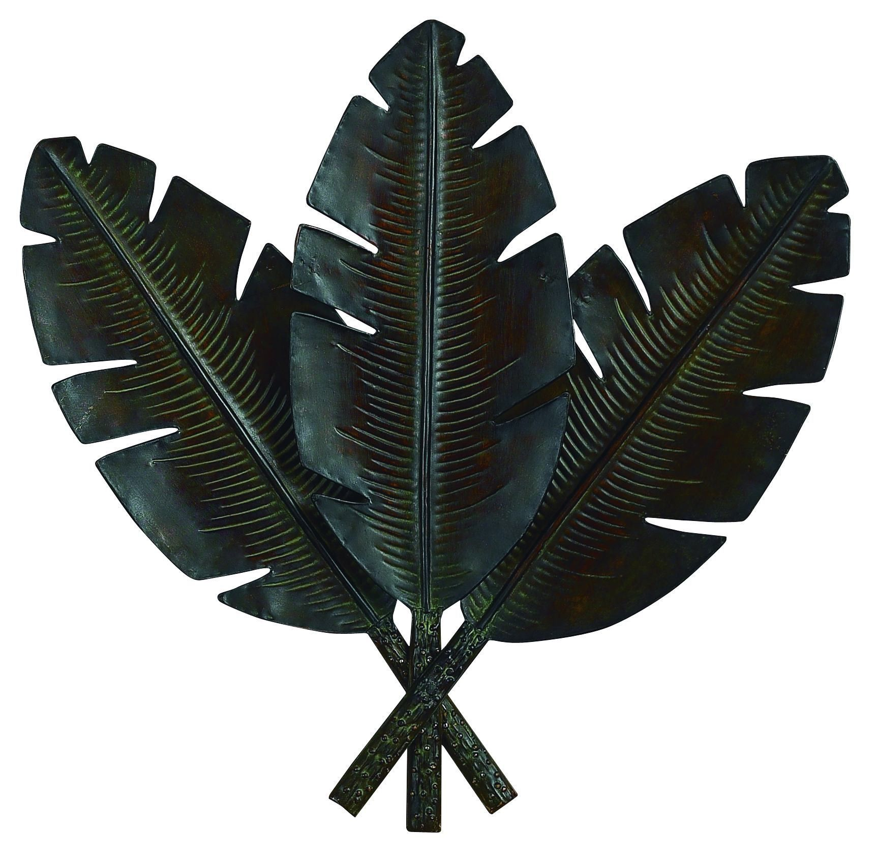 Metal palm wall decor with distress palm leaves photo