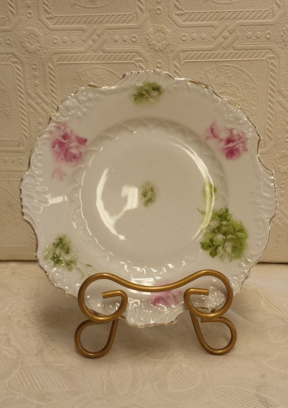 Green and Pink Roses on Decorative Plate; Check out Pics    Scalloped Edge Plate with Gold Edging    Raised Design on Border of Plate