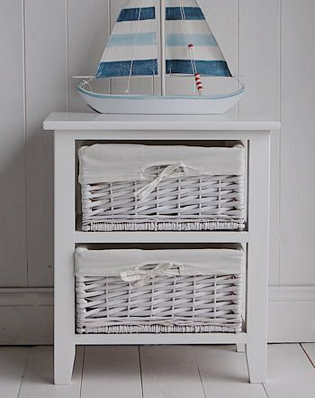 A White  Drawer Basket Unit From The White Lighthouse