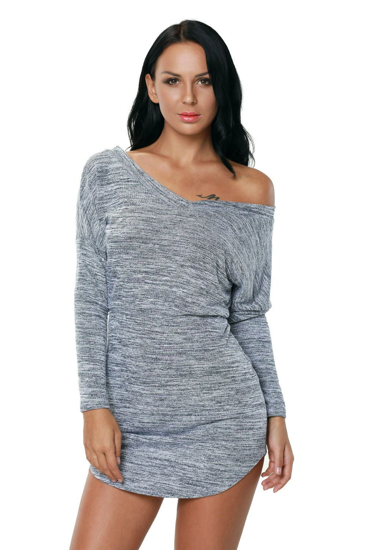 Missguided Rainey Long Sleeve Bodycon Dress Grey | Where to buy ...
