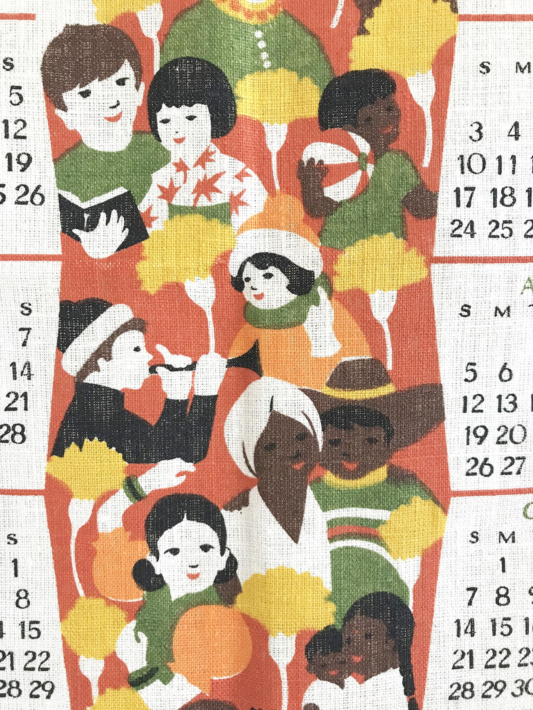 Vintage Calendar Towel 1979 Year Of The Child United Nations