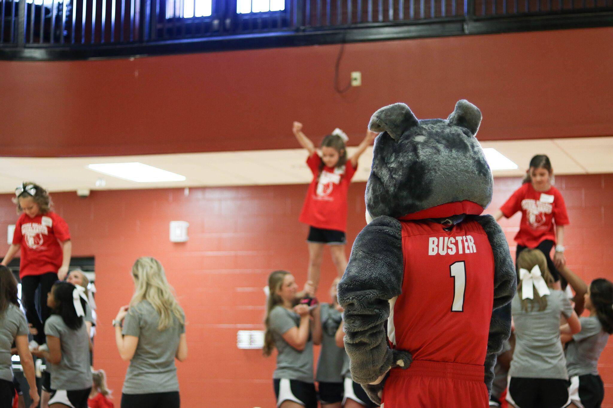 Buster the bulldog at a summer cheerleading camp mascot