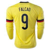 1d3653f2f5f 2015 Colombia Soccer Team FALCAO  9 Long Sleeve Home Replica Jersey  C350