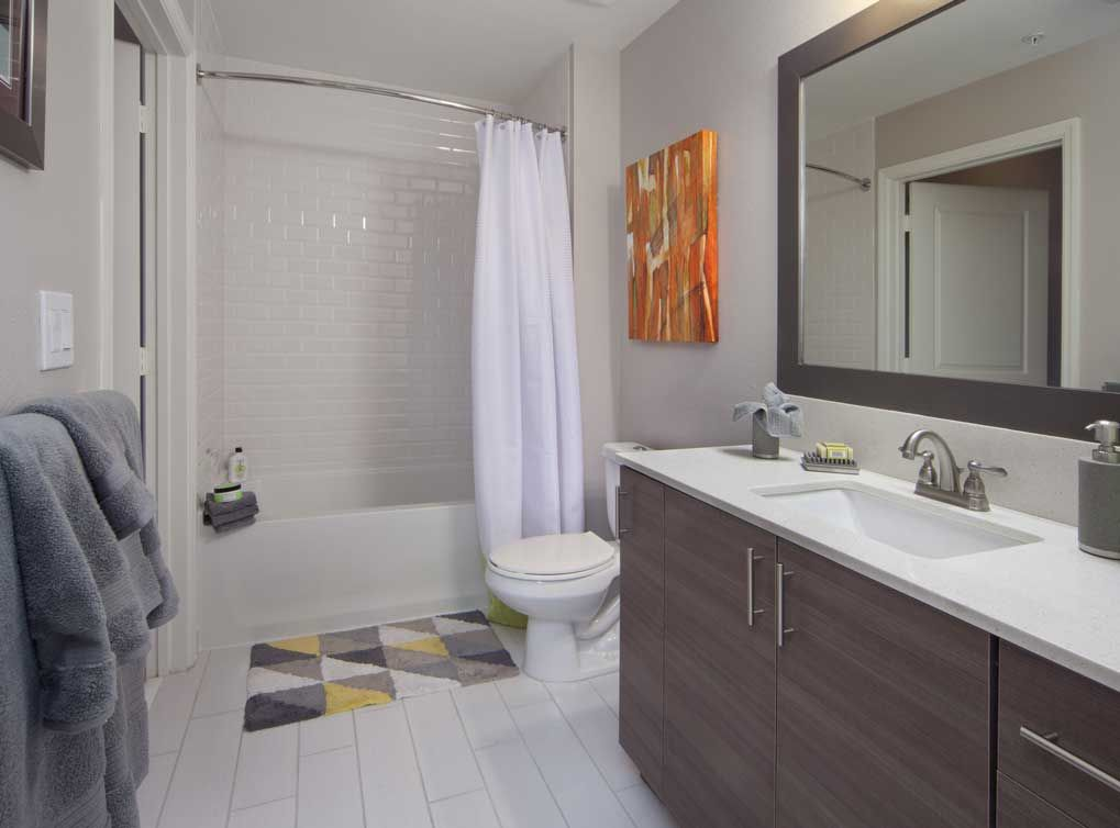 Gorgeous bathroom in our apartment model at AMLI Dadeland apartment
