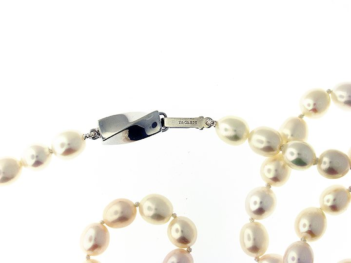 81fe1d651 Tiffany pearl necklace with sterling silver clasp stamped T 925. 16