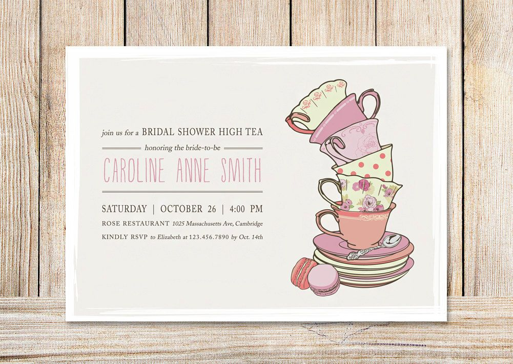 bridal shower tea party invitations template 4rh78nAH | Tea Party