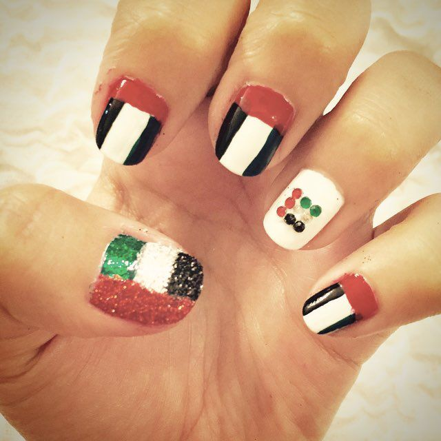 UAE Flag Nails