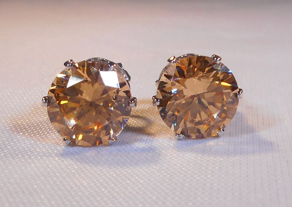 diamonds earrings with morganite gold rose in stud