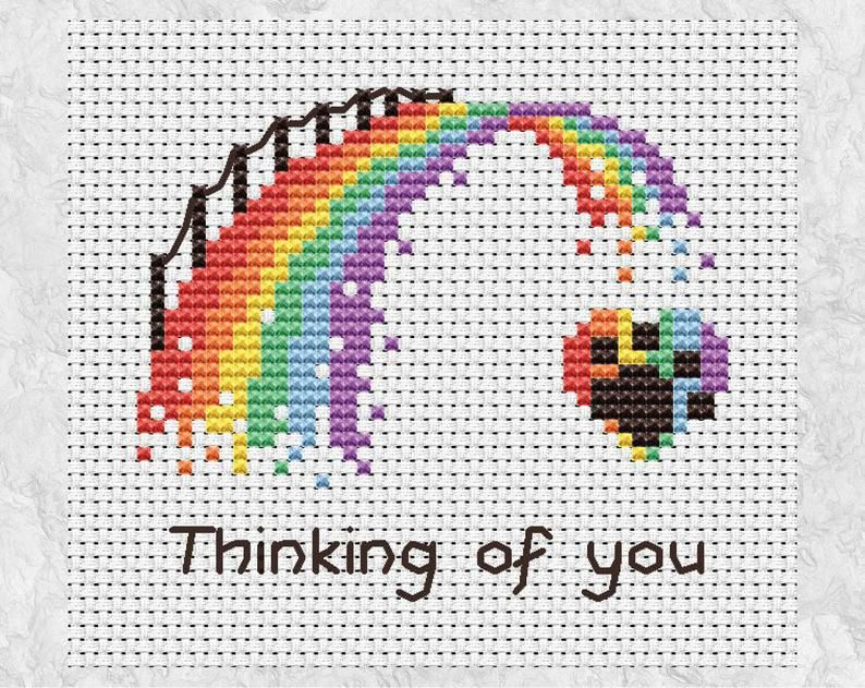 Rainbow Bridge Paw Print Cross Stitch