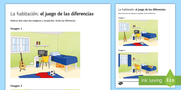 My Bedroom Spot The Differences Game Spanish Speaking Practice Prepositions Bedroom Spot Spot The Difference Games How To Speak Spanish Childrens Learning