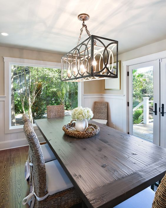 When Hanging A Chandelier Make Sure That It S Low Enough To Light The Eating Area Without Interferi Coastal Dining Room Farmhouse Dining Farmhouse Dining Room