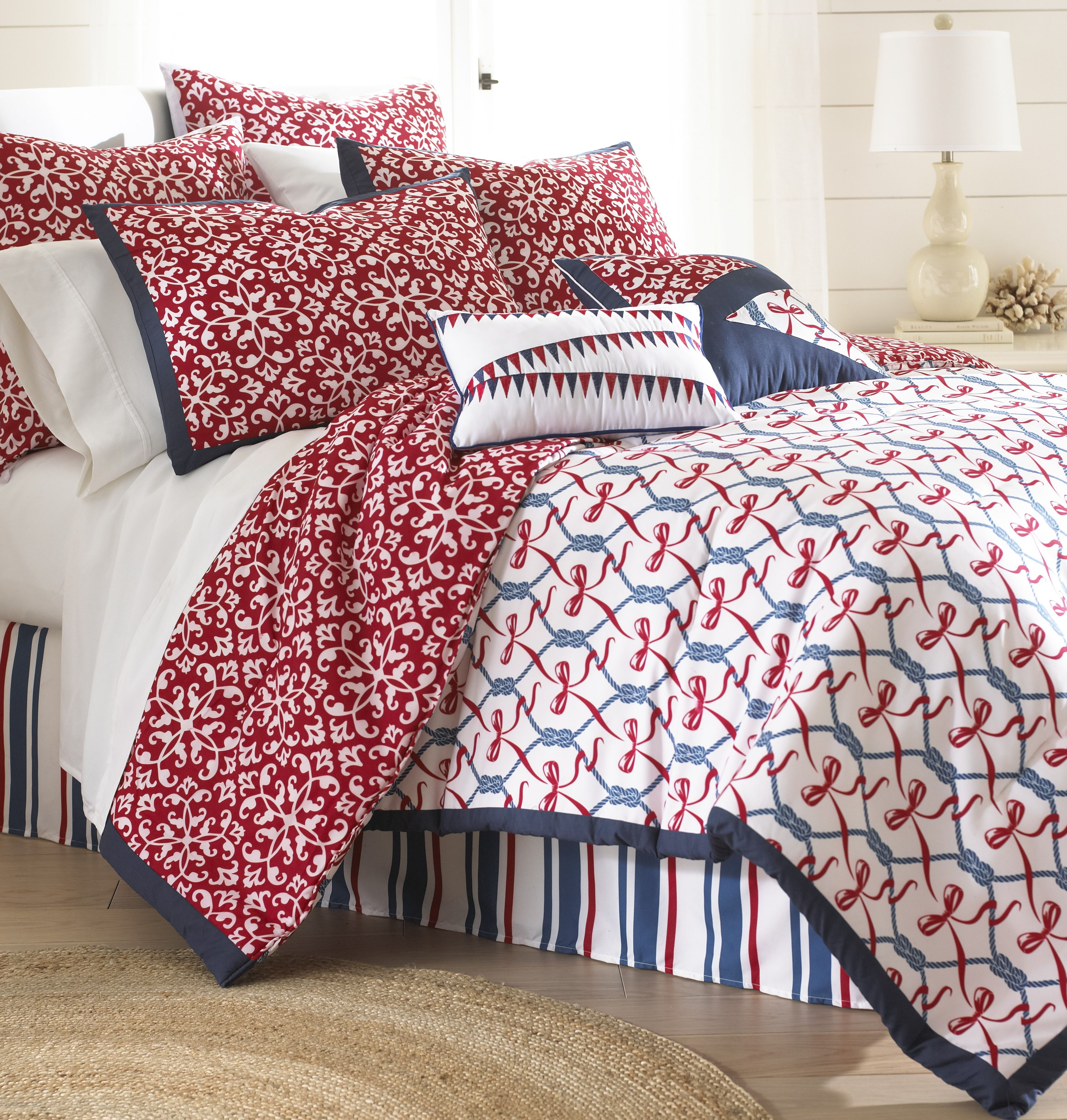 reverses set sailboats features the comforter nautical to theme lighthouses and a sets multicolored pin of