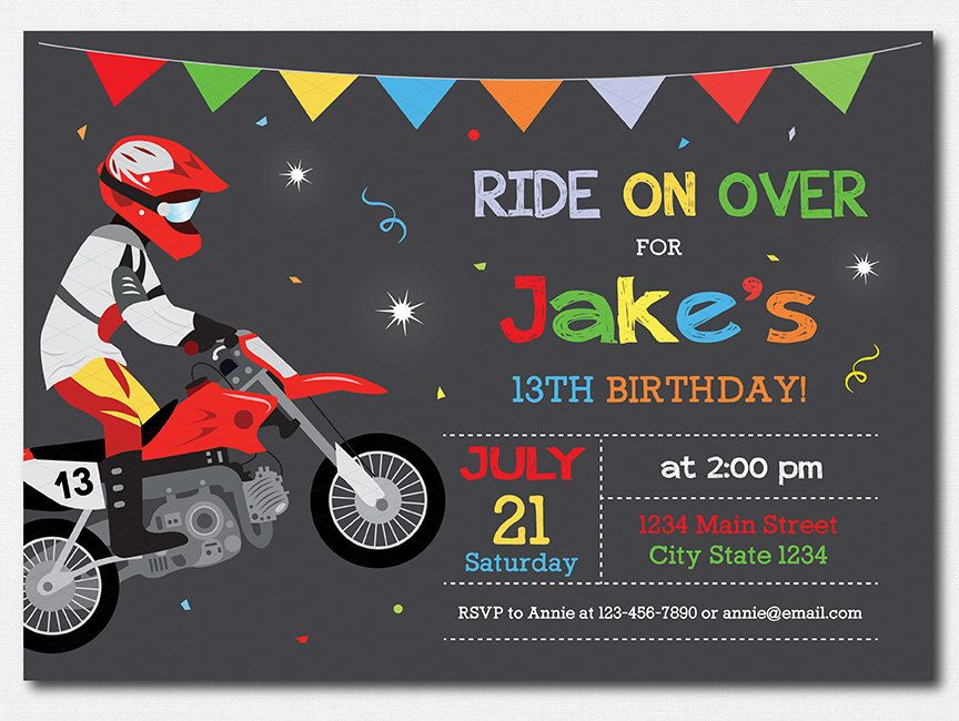 Motocross Birthday Invitation Invite Party Motorbike Dirt Bike