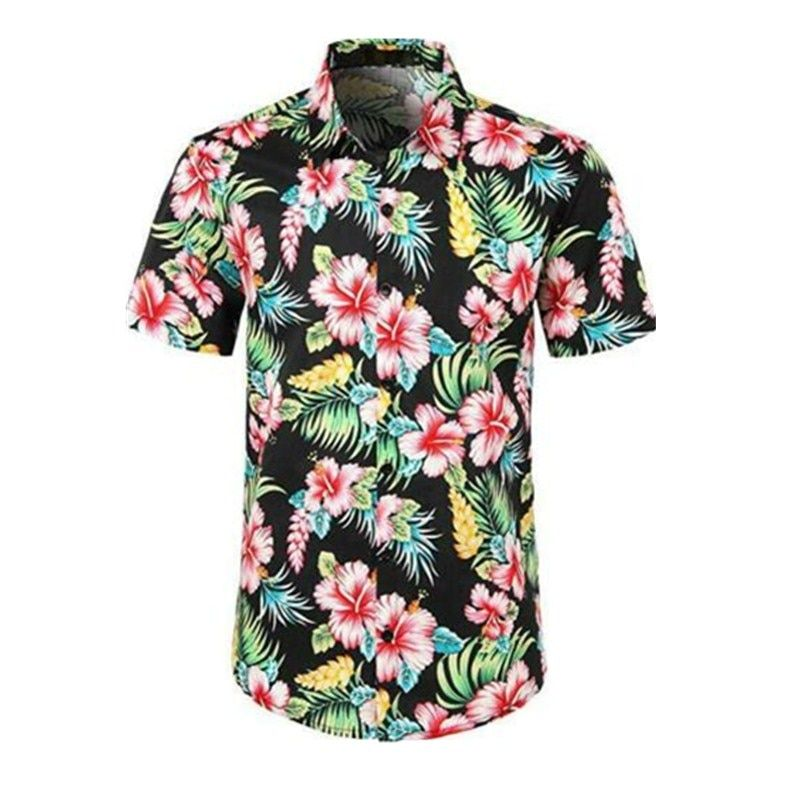 YYear Men Button Down Short-Sleeve Floral Printed Plus Size Dress Shirt