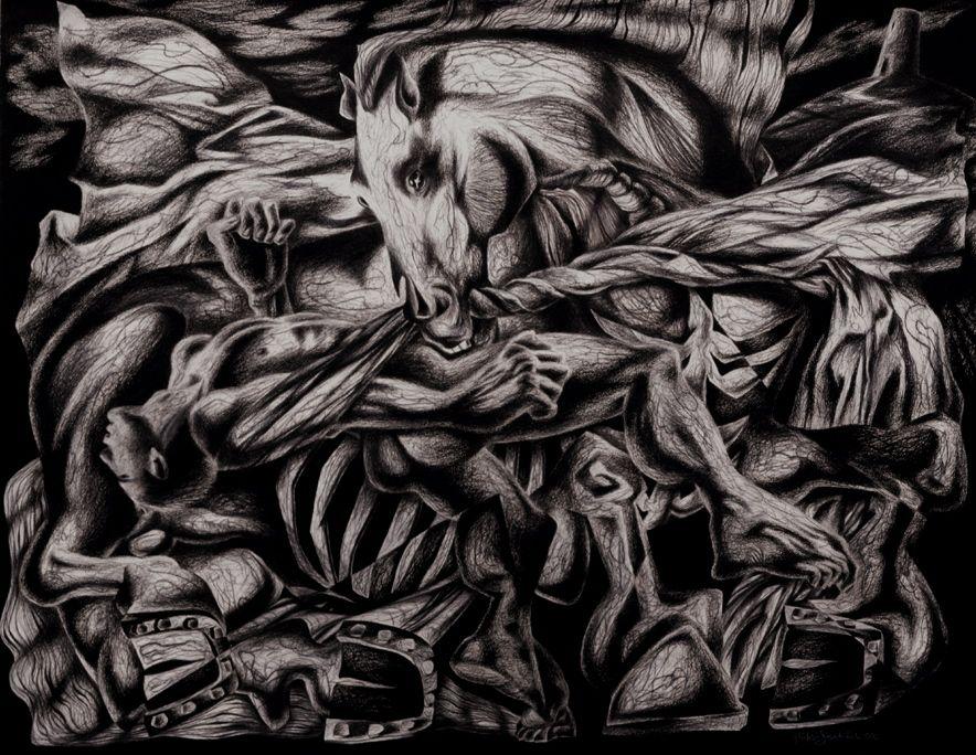 Clive Hicks-Jenkins. 'Deposition III'. Conté pencil on Arches paper. 122 x 153 cm. 2001