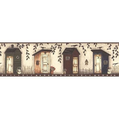 451 1795 Country Outhouse Decorative Border Wallpaper Border Wall Borders Outhouse
